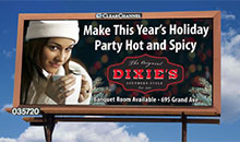 A poster billboard promoting hosting your holiday party at their restaurant