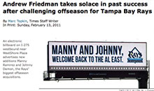 The Tampa Bay Rays promote their MLB team on a billboard.