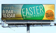 A digital billboard announcing easter services for a church