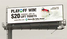A $20 lift ticket special for a ski resort is being advertised on a digital billboard.