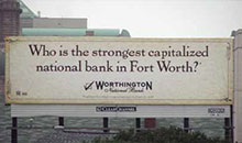 One of the billboards that Worthington bank used in its advertising campaign.