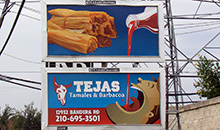 Tejas Tamales & Barbacoa used two junior poster billboard panels to advertise their product.  The creative is used to tie the message together on both panels.