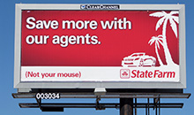 A poster billboard featuring a State Farm Insurance advertisement.
