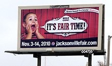 Promoting the Jacksonville Fair using a poster billboards.
