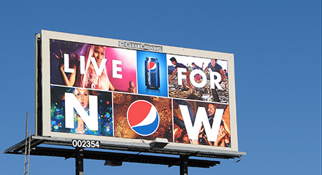 A Pepsi 'Live for Now' poster billboard.