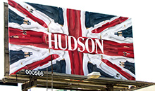 A premiere panel billboard promoting Hudson clothing.