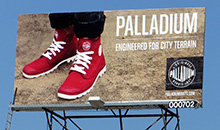 A premiere panel billboard promoting Palladium shoes.