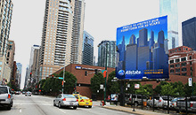 Allstate Insurance advertises on a giant premiere square billboard in Chicago.