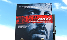 2012 Academy Awards 'Best Picture' winner Argo on a premiere square billboard.