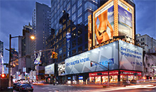 Spectacular billboards at dusk just north of Times Square.