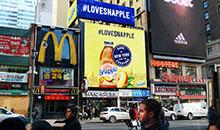High def digital billboard featuring Snapple in Times Square.