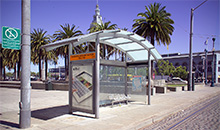 A trolley shelter in San Francisco.
