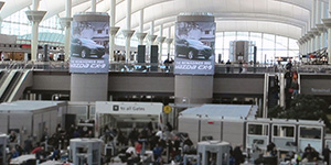 Video advertising towers in the Denver airport