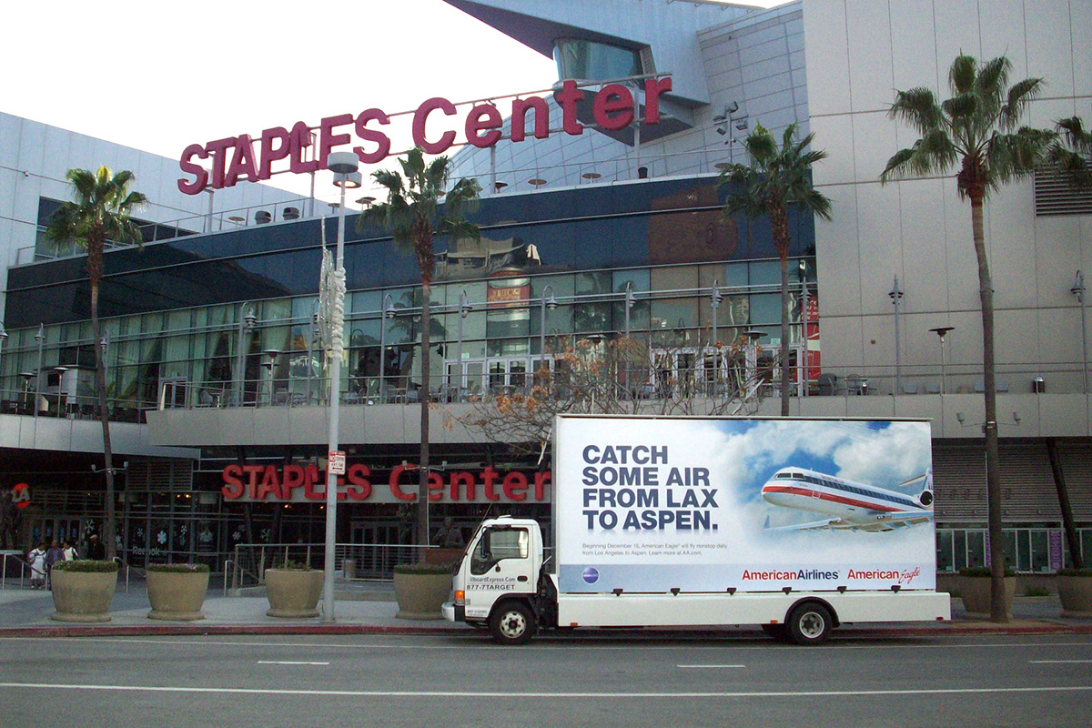 An American Airlines Advertisement On A Mobile Billboard