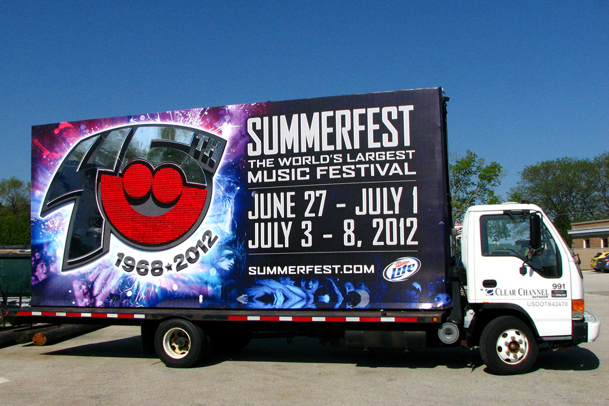 A Clear Channel Mobile Billboard Promotes The Summerfest Music Festival