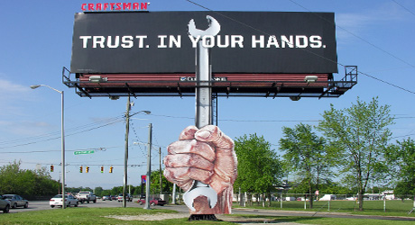 Creative use of a bulletin billboard by Craftsman.