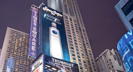 A Ciroc billboard high above in Times Square